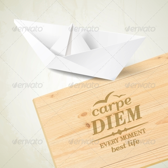 Stylish Wooden Plaque with the Text Carpe Diem. - Travel Conceptual