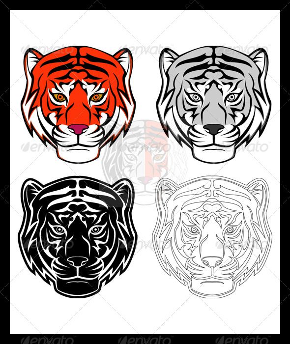 Tiger Head Illustration Set - Animals Characters