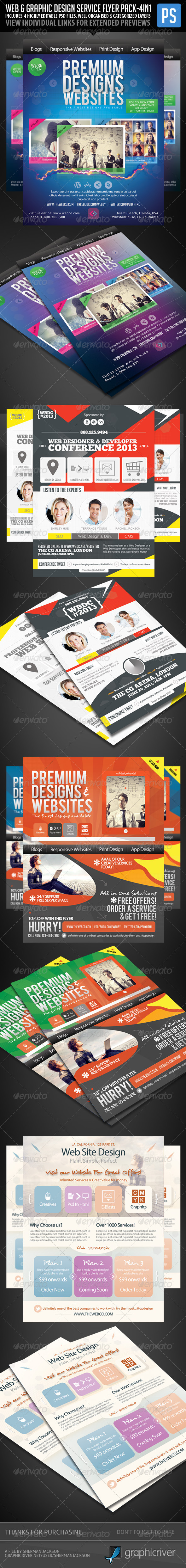 Web & Graphic Design Service Flyer Pack (4in1) - Commerce Flyers