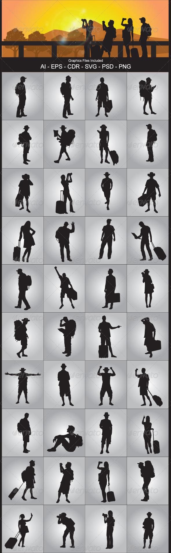 Tourist Silhouettes - Travel Conceptual