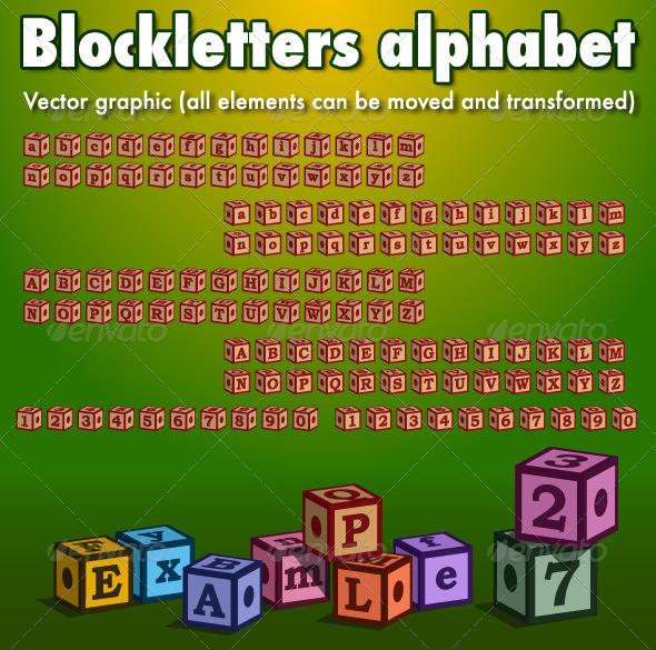 Blockletters Alphabet - Decorative Symbols Decorative