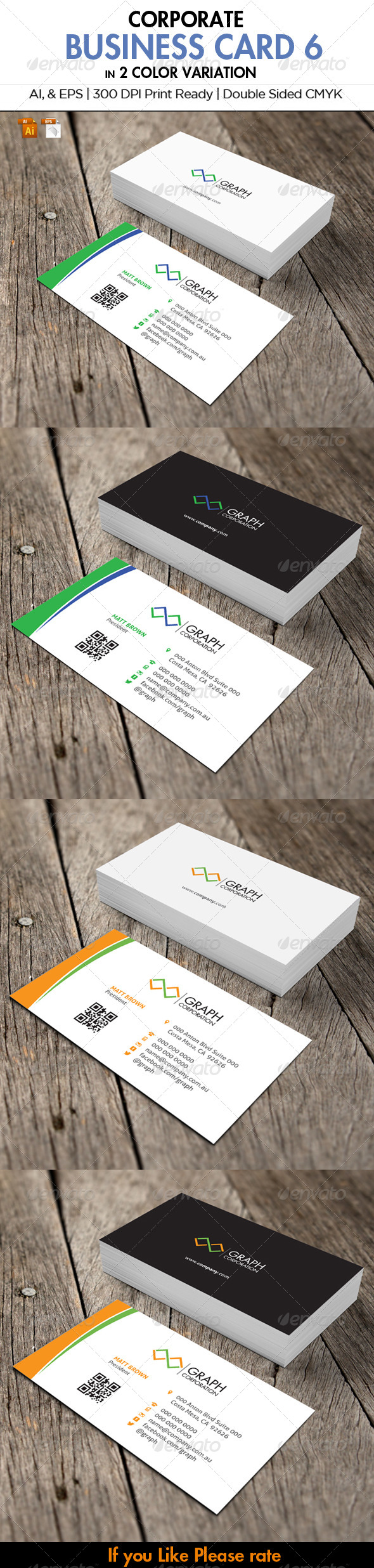 Corporate Stationery 6 - Business Cards Print Templates