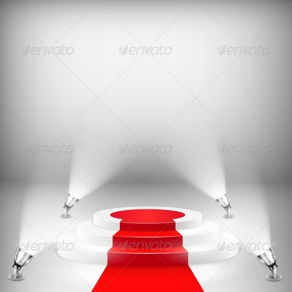 Illuminated Podium with Red Carpet - Miscellaneous Vectors