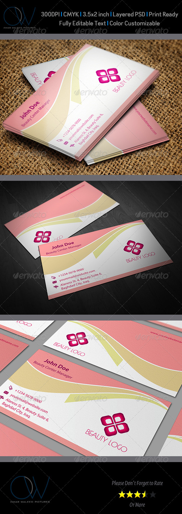 Beauty Salon Business Card Template Vol.1 - Corporate Business Cards