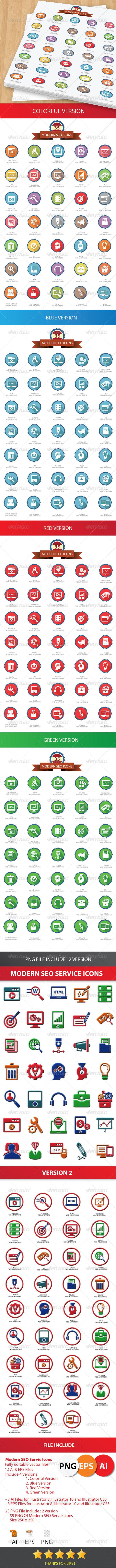 35 Modern SEO Icons - Icons