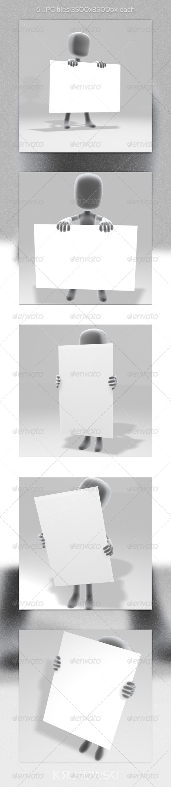 White Man with a Sign - 3D Backgrounds