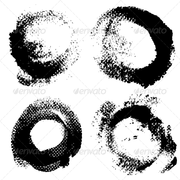 Round Textured Prints with Paint - Abstract Conceptual