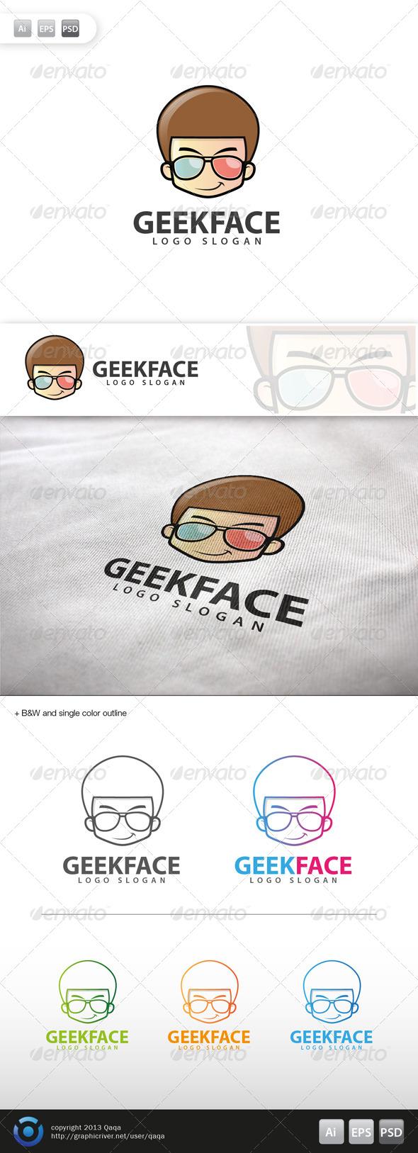 Geek Face Logo - 12 - Humans Logo Templates