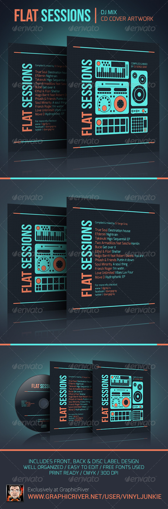 Flat Sessions - DJ Mix CD Cover Artwork - CD & DVD Artwork Print Templates