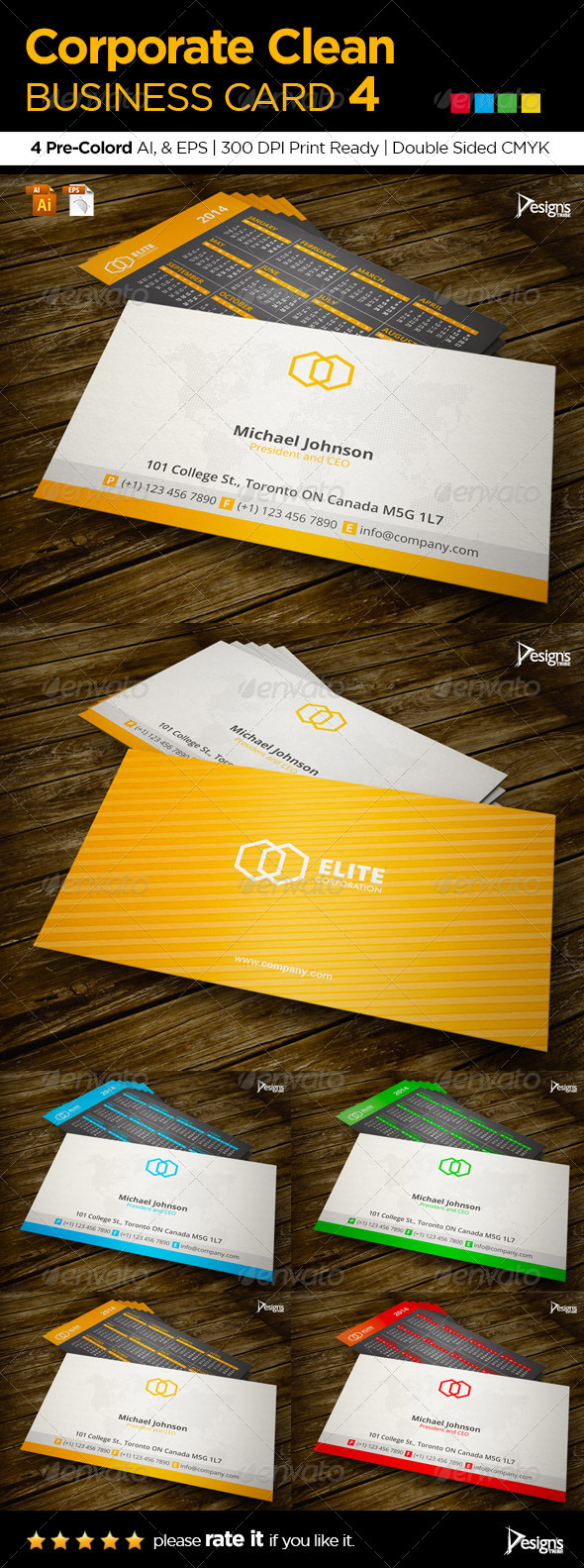 Corporate Clean Business Card 4 - Business Cards Print Templates
