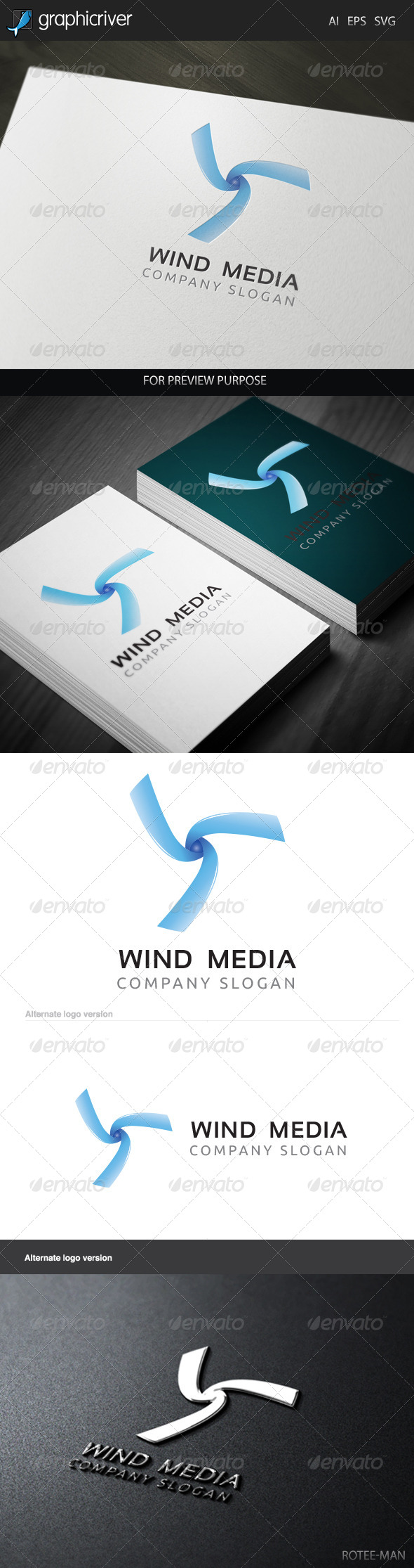 Wind Media 2 Logo - Letters Logo Templates