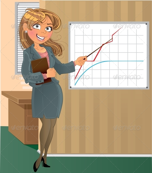 Woman with Pointer in Office - People Characters