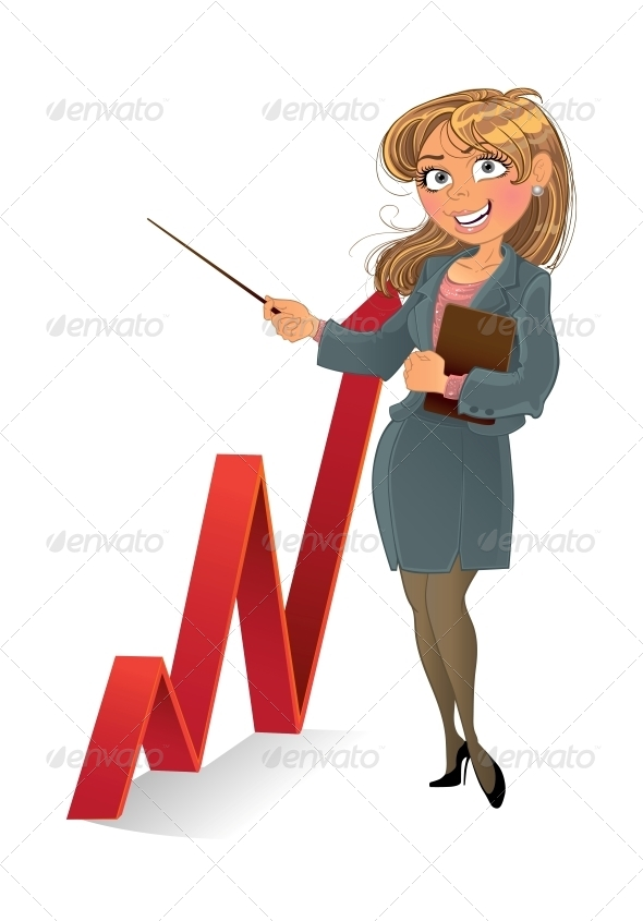 Woman with Red Up Diagram - People Characters
