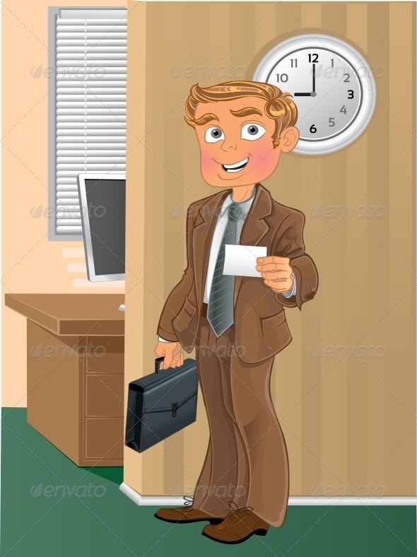 Man with Business Card in Office - People Characters