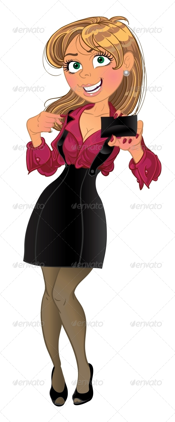 Woman holding Business Card - People Characters