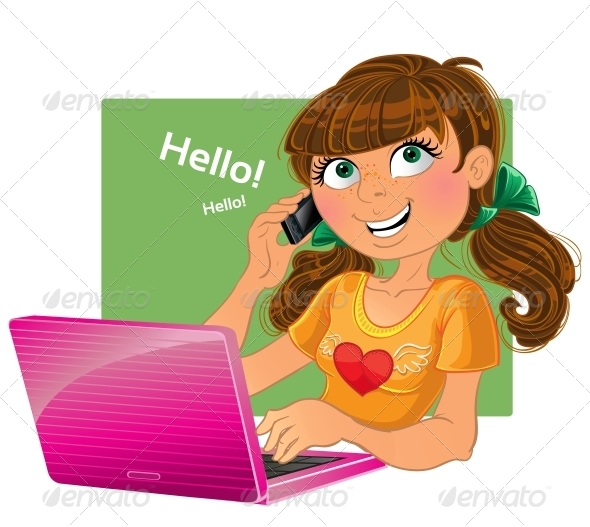 Brown-Haired Girl with Phone and Pink Laptop - People Characters