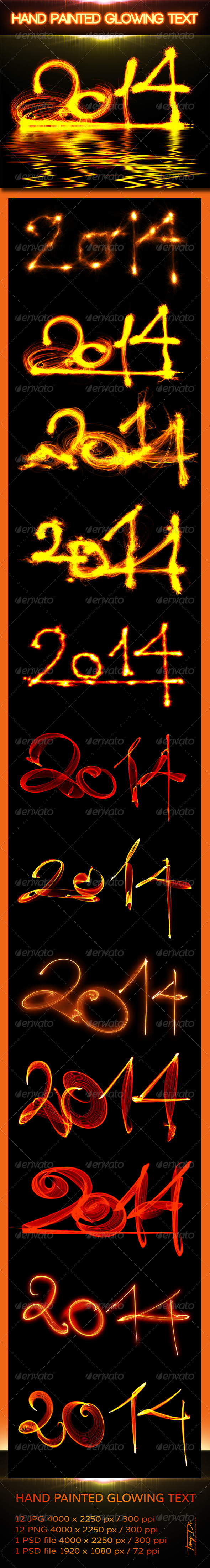 2014 Hand Painted Glowing Text - Miscellaneous Backgrounds