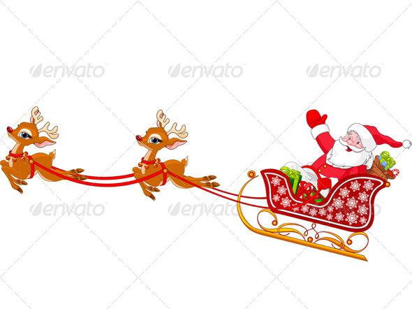 Santa Claus in Sled - Christmas Seasons/Holidays
