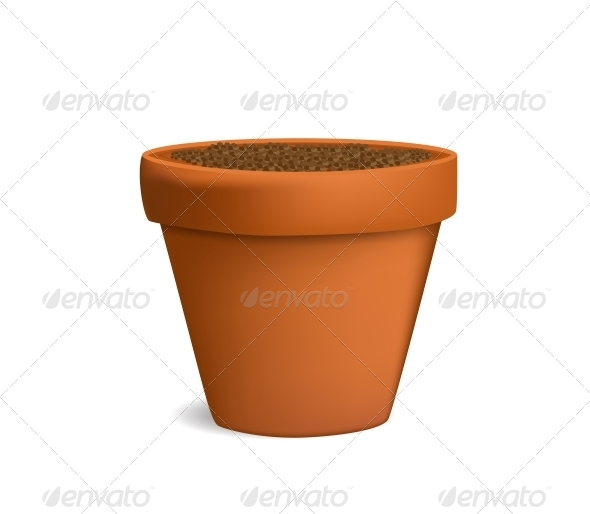 Flowerpot with Dirt Vector Illustration - Flowers & Plants Nature