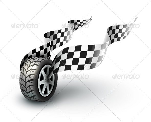 Sport Racing Wheel with Flapping Flags - Sports/Activity Conceptual
