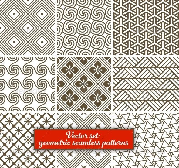 Vector Set: 9 Geometric Seamless Patterns. - Patterns Decorative