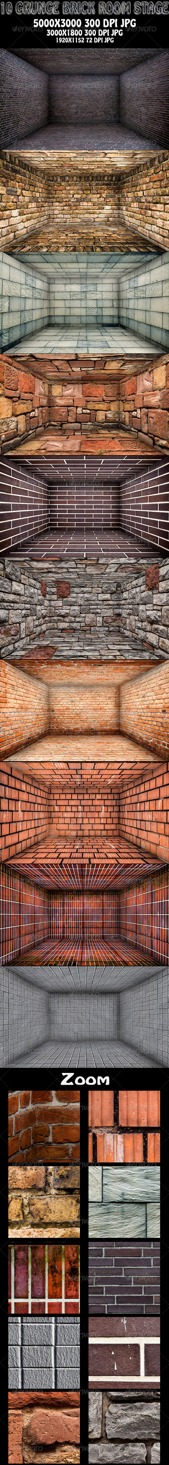 10 Grunge Brick Room - Stage - Urban Backgrounds