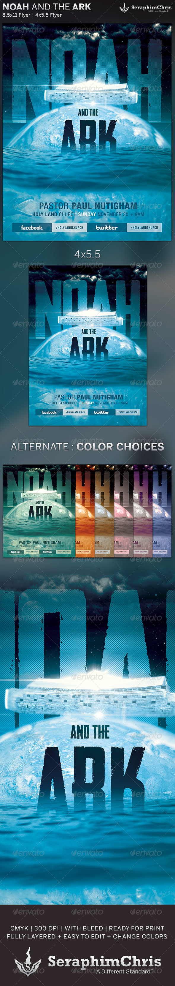 Noah and the Ark: Church Flyer Template - Church Flyers