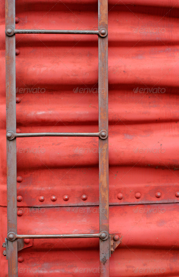 Ladder on the side of a train boxcar - Stock Photo - Images