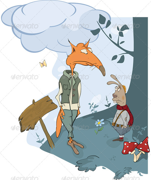 Foxes and a Rabbit Meet in Woods - Cartoon - Animals Characters