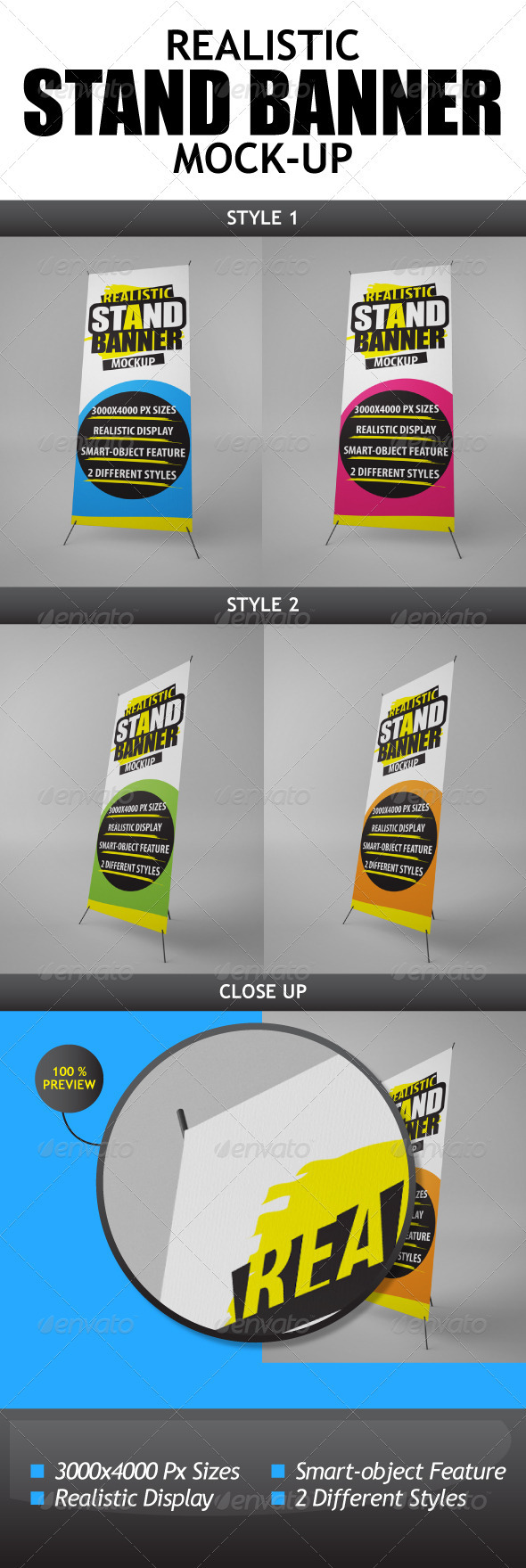 Realistic Stand Banner Display Mock-Up - Signage Print