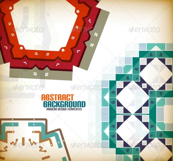 Vector Geometric Vintage Retro Background - Patterns Decorative