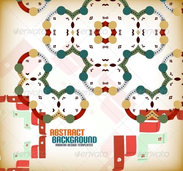 Vector Geometric Vintage Retro Background - Patterns Decorative