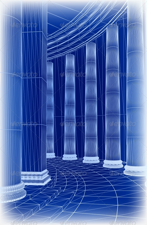Column Architecture. Vector - Buildings Objects