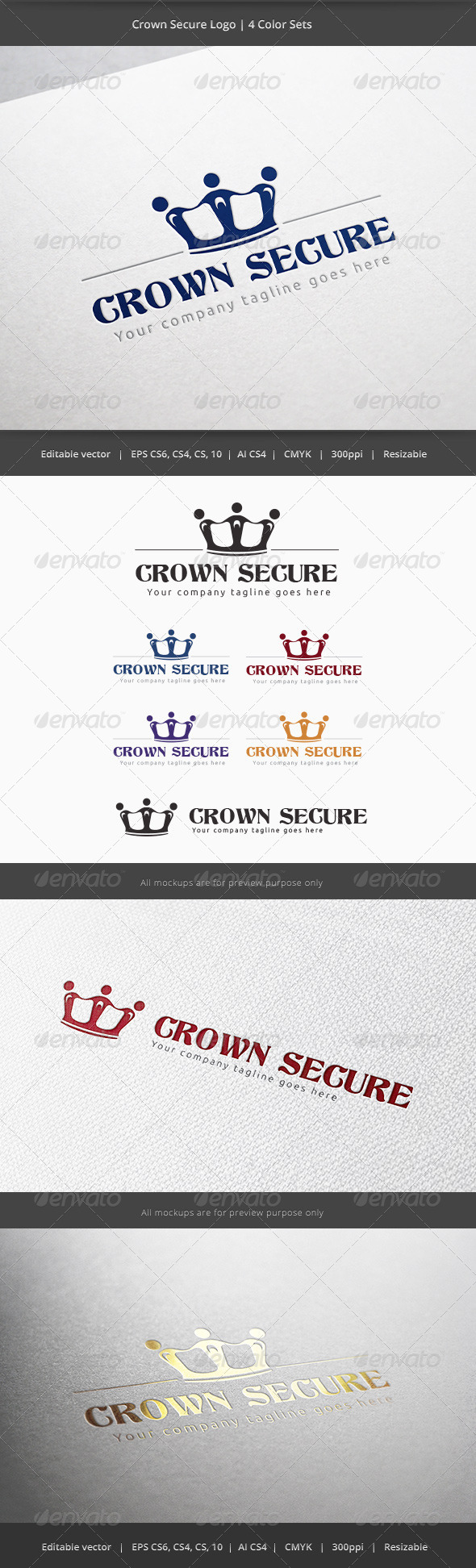 Crown Secure Logo - Objects Logo Templates