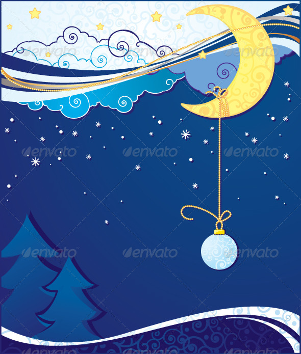 Christmas and New Year Background with Moon - Backgrounds Decorative