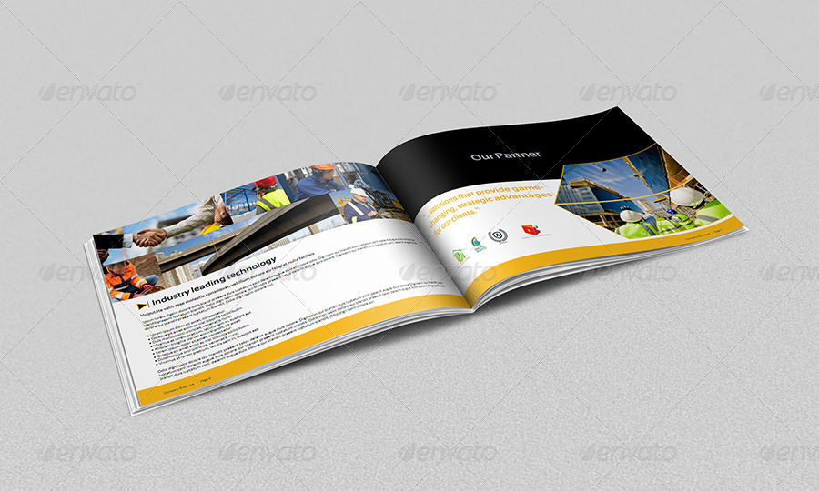 Construction Industry Brochure Template 12 Pages By Owpictures