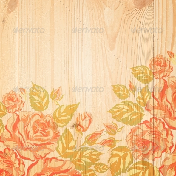 Red Roses on a Background of Wood - Flowers & Plants Nature
