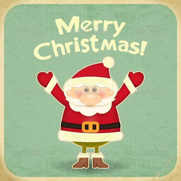 retro merry christmas with santa claus by elfivetrov graphicriver. Black Bedroom Furniture Sets. Home Design Ideas