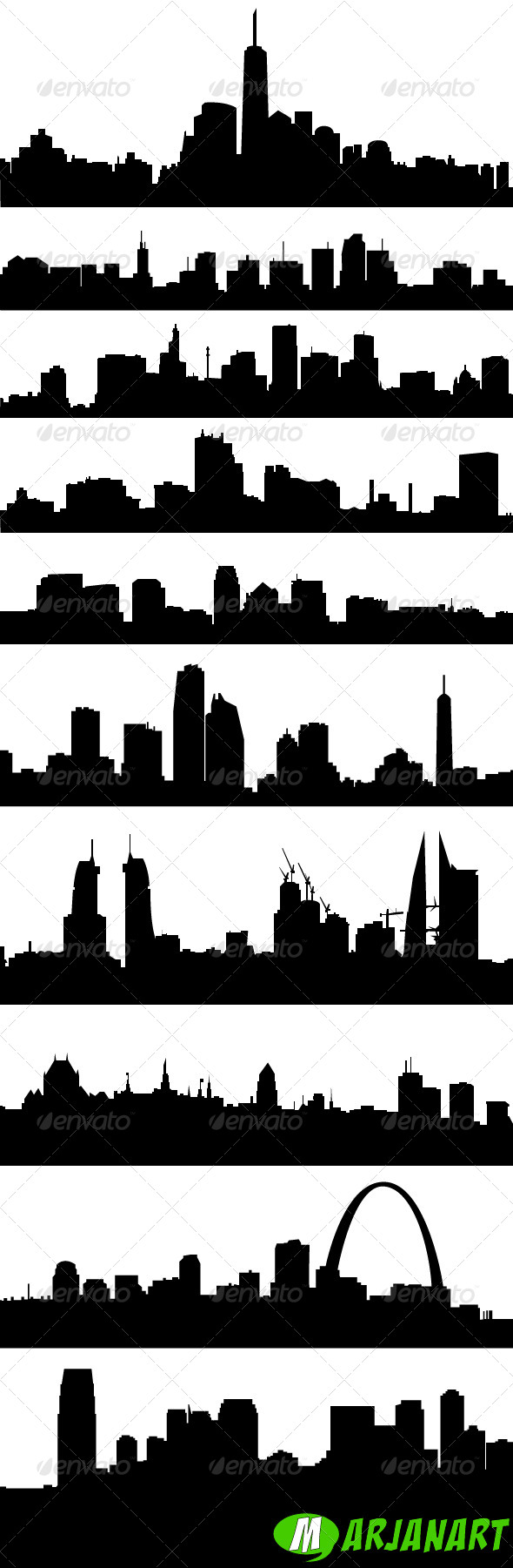 City Skyline Silhouettes - Man-made Objects Objects