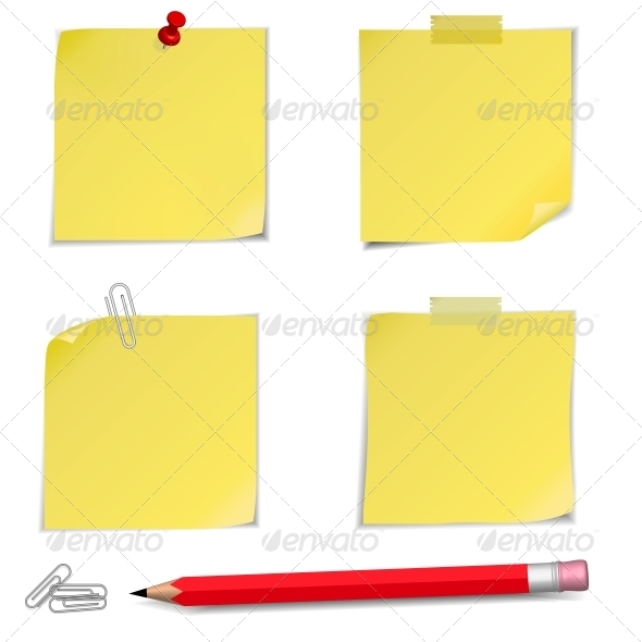 Adhesive Notes with Pin and Red Pencil - Man-made Objects Objects