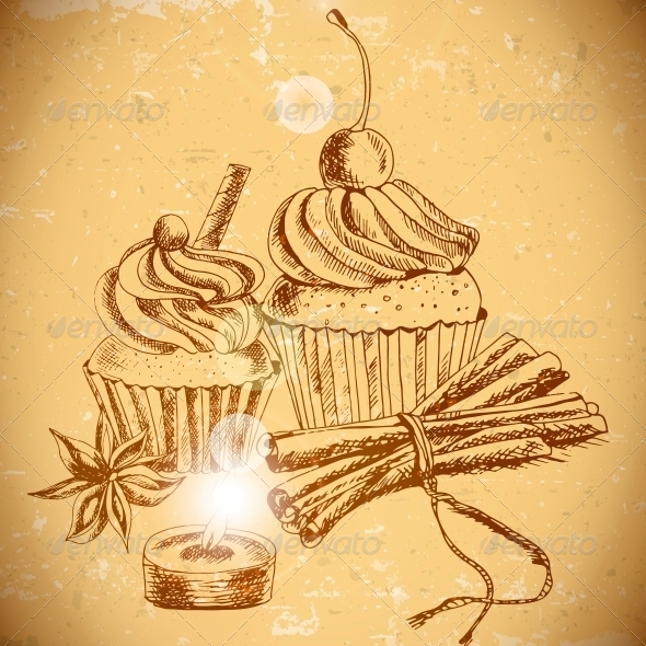 Vintage Background with Cupcake and Cinnamon - Patterns Decorative