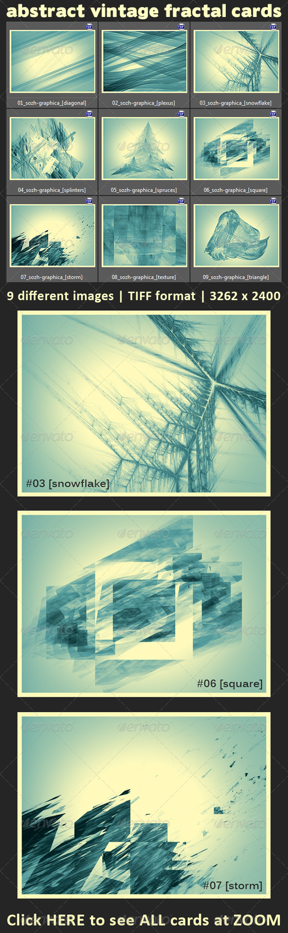 9 Abstract Fractal Vintage Cards - Miscellaneous Graphics