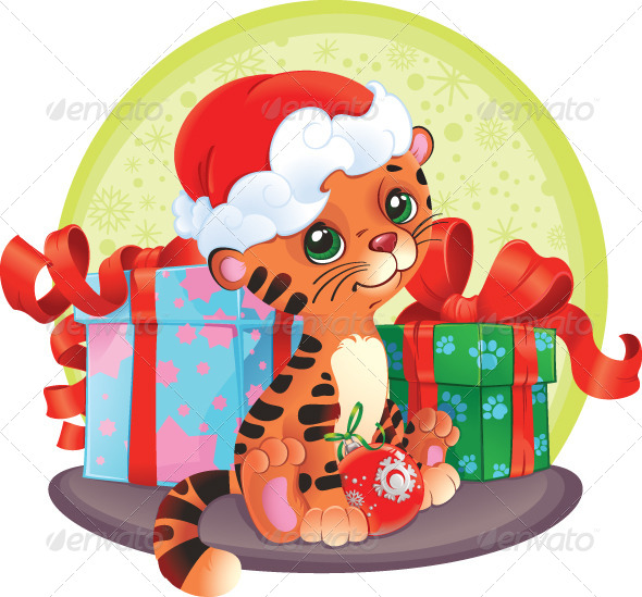 Tiger Cub with Christmas Gifts - Animals Characters