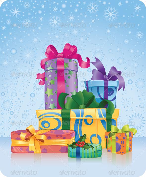 Greeting Card with Christmas and New Year Gifts - Christmas Seasons/Holidays
