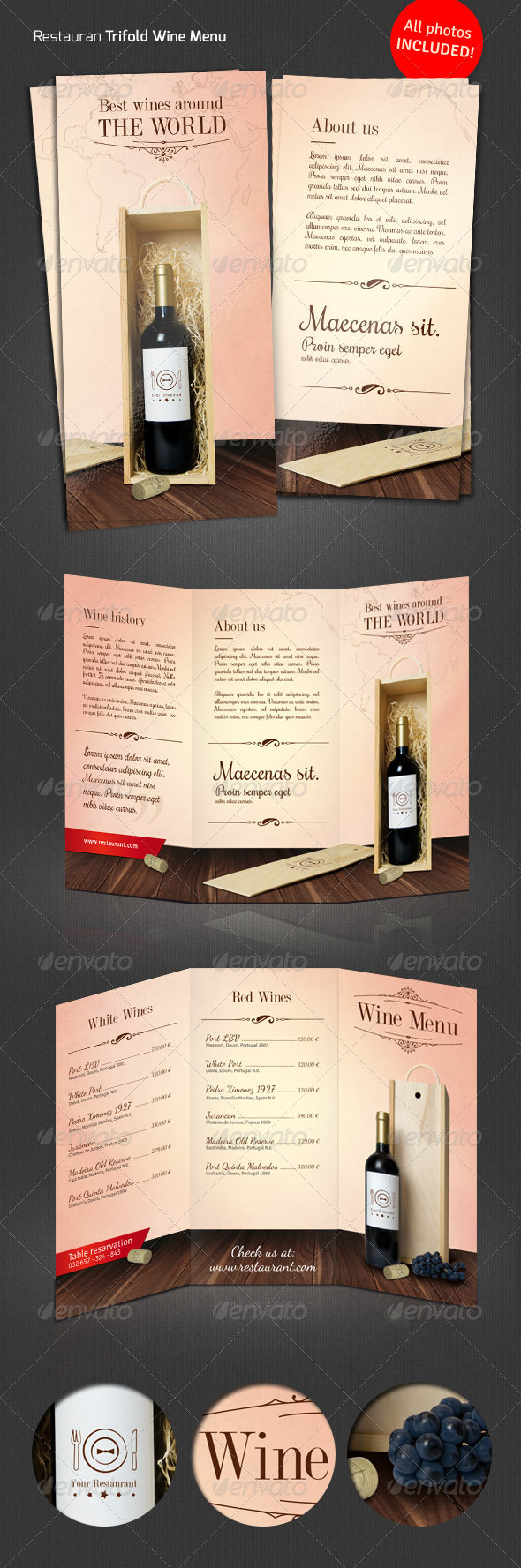 Wine / Restaurant Tri-Fold Menu - Restaurant Flyers