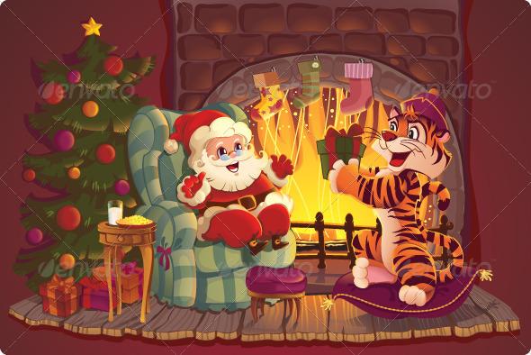 Santa Claus and Tiger - Christmas Seasons/Holidays
