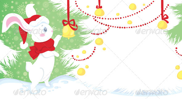 Christmas Illustration with White Rabbit - Christmas Seasons/Holidays