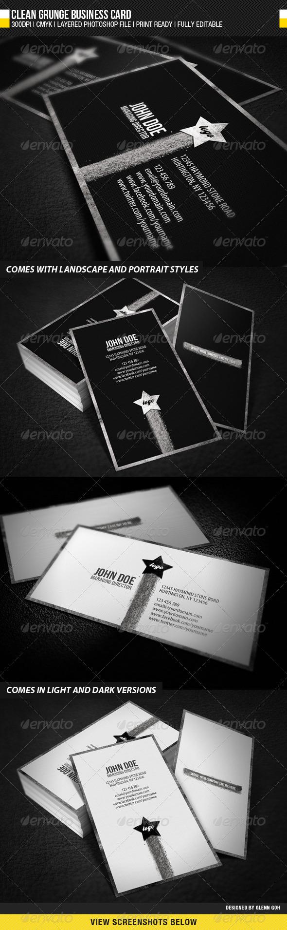 Clean Grunge Business Card - Grunge Business Cards