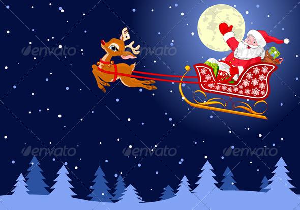 Santa in Sled - Christmas Seasons/Holidays