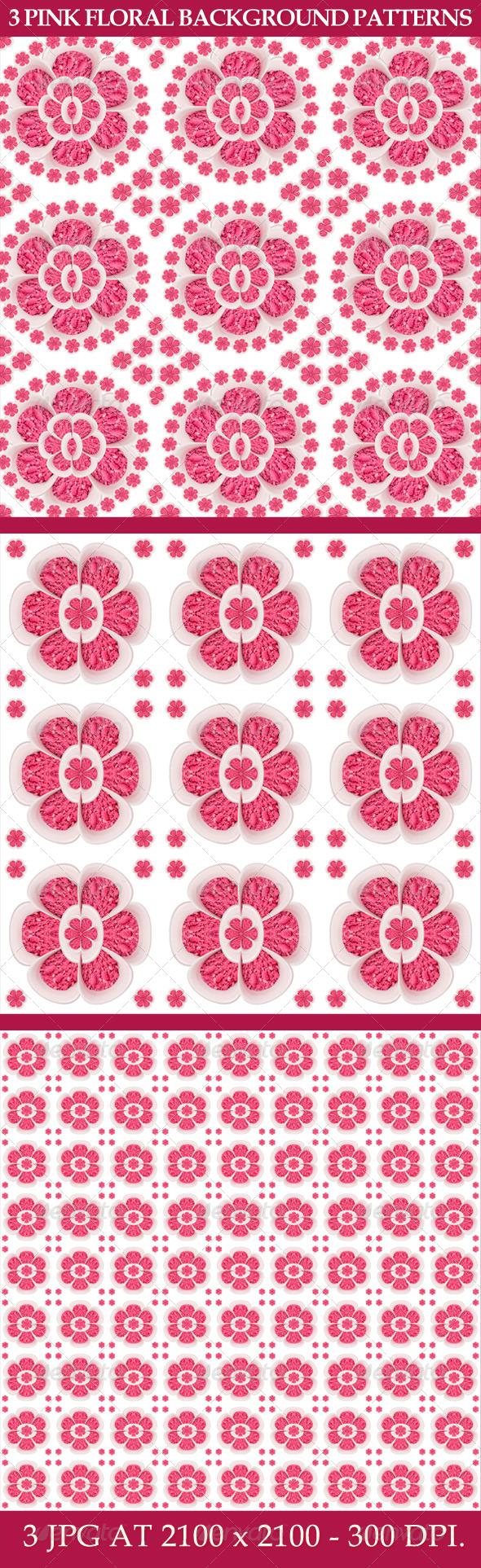 3 Pink Floral Background Patterns - Patterns Backgrounds